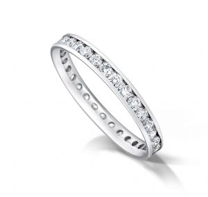 Channel set court eternity/wedding ring, platinum. 2.5mm x 1.7mm. 1/3 coverage